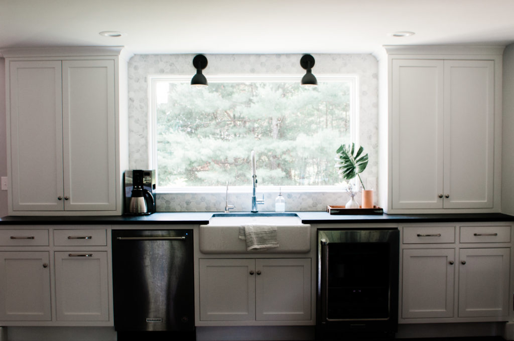 Remodeled kitchen window and cupboards